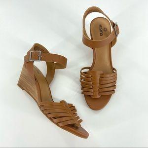Susina Terra Cognac Leather Wedge Sandals NEW 6